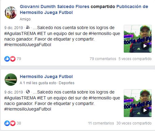 Testimonios que hemos recabado de algunas interacciones que hemos tenido en nuestros dos años de existencia como #HermosilloJuegaFutbol.